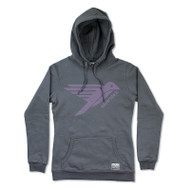 Silverstick Womens Hoodie Lancelin Bird Design in Charcoal.  Front view.