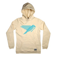 Silverstick Womens Hoodie Lancelin Bird Design in Natural.  Front view.