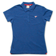 Silverstick Womens Polo Shirt Earhart design in Deep Sea.