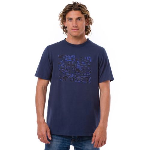 Animal Mens T Shirt Latis Design in Indigo. Front view.