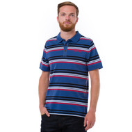 Animal Mens Polo Shirt Romey Design in French Navy.  Front view.