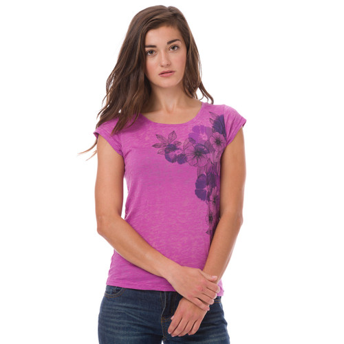 Animal Womens Top Addina Design in Berry. Front view.