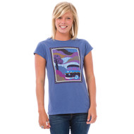 Animal Womens Top Abbi Design in French Navy Blue Front view.