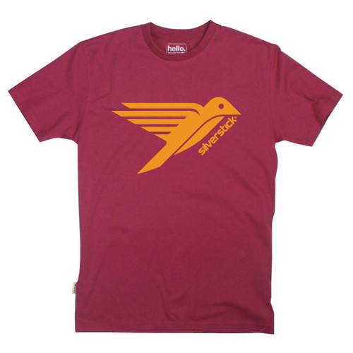 Silverstick Men's T-Shirt Bird Design in Beaujolais.  Front View.