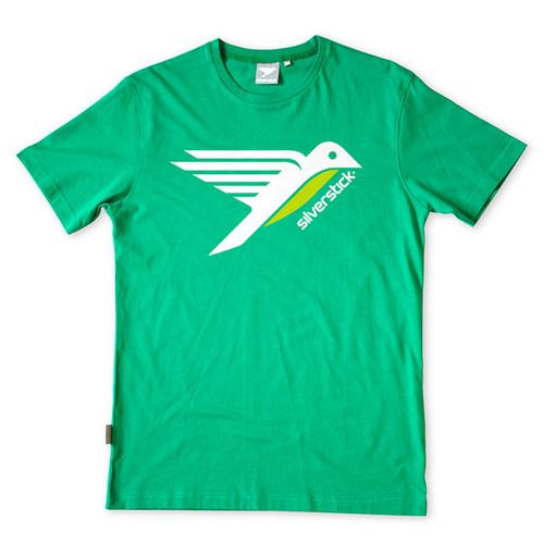 Silverstick Men's T-Shirt Bird Design in Forest Green.