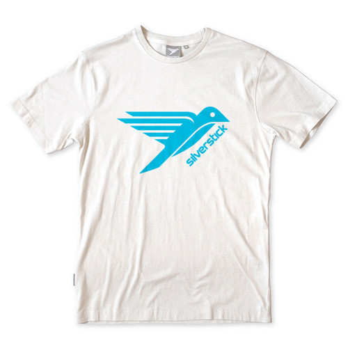 Silverstick Men's T-Shirt Bird Design in Snow White.