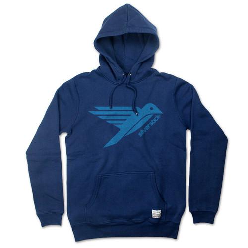 Silverstick Men's Hoodie Ellerton Bird Design in Navy Blue.
