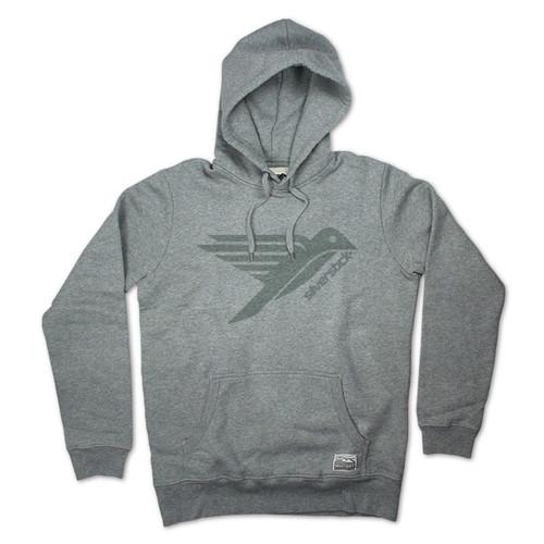 Silverstick Men's Hoodie Ellerton Bird Design in Ash Grey.