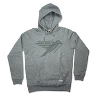 Silverstick Men's Hoodie Ellerton Bird Design in Ash Grey.