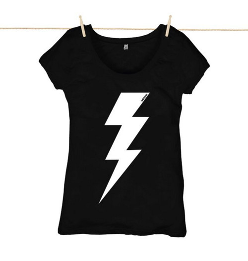 Rapanui Womens Top Lightning Bolt Design in Black.