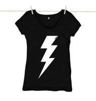 Rapanui Womens Top Lightning Bolt Design in Black.