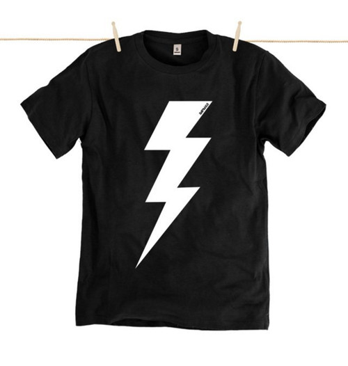 Rapanui Mens T-Shirt Lightning Bolt Design in Black.