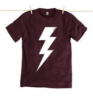 Rapanui Mens T-Shirt Lightning Bolt Design in Purple.