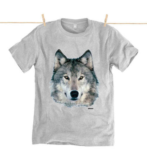 Rapanui Mens T-Shirt Wolf Design in Athletic Grey.
