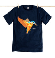 Rapanui Mens T-Shirt Kingfisher Design in Navy Blue.