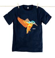 Rapanui Mens T-Shirt Kingfisher Design in Navy Blue.