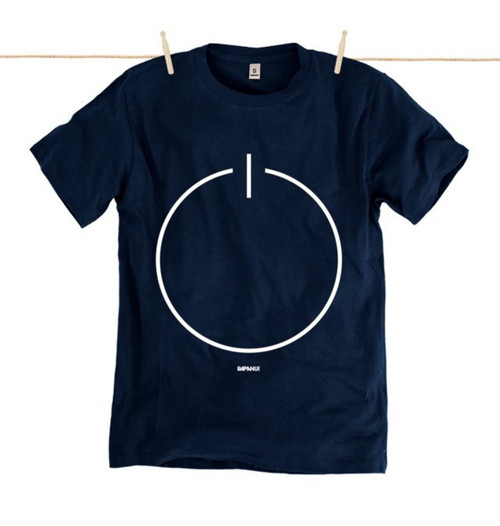 Rapanui Mens T-Shirt Stand By Design in Navy Blue.