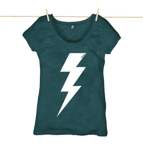 Rapanui Womens Top Lightning Bolt ll Design in Denim Blue.