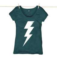 Rapanui Womens Top Lightning Bolt ll Design in Denim Blue.