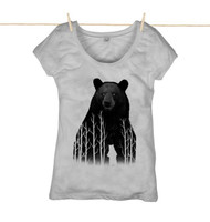 Kahuna Womens Top Bear Design in Denim Blue.  Athletic Grey.
