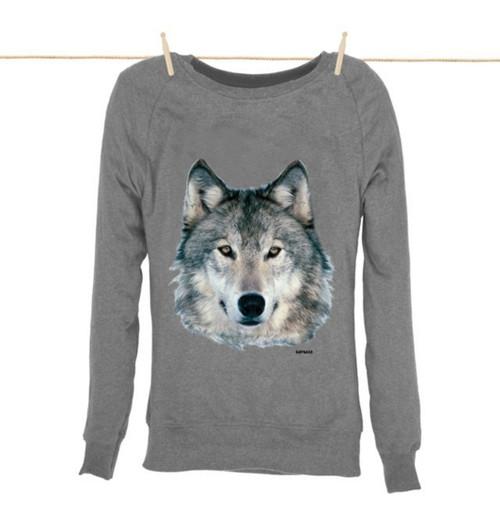 Kahuna Womens Sweatshirt Wolf Design in Light Heather.
