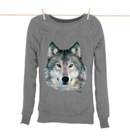 Kahuna Womens Sweatshirt Wolf Design in Light Heather.