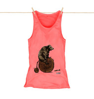 Kahuna Womens Vest Top Bear Cycling Design in Coral.
