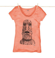 Kahuna Womens Top Easter Island Design in Coral.
