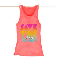 Kahuna Womens Vest Top Save The Planet Design in Coral.