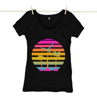 Kahuna Womens Top Tropical Sun Design in Black.