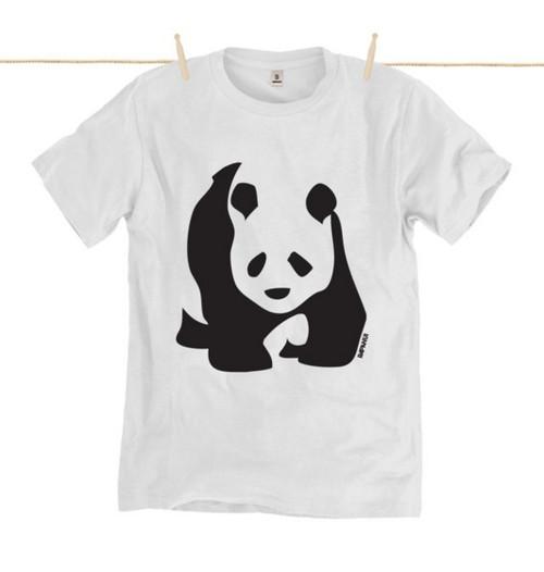 Kahuna Mens T-Shirt Bamboo Panda Design in White.