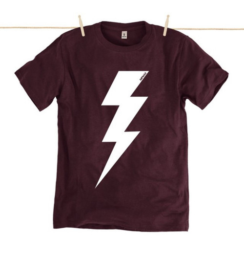 Kahuna Mens T-Shirt Lightning Bolt Design in Purple.