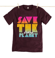 Kahuna Mens T-Shirt Save The Planet Design in Purple.