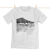 Kahuna Mens T-Shirt Son of a Beach Design in White.
