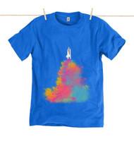 Kahuna Mens T-Shirt Space Shuttle Design in Bright Blue.
