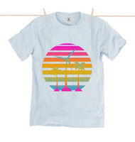 Kahuna Mens T-Shirt Tropical Sunrise Design in Light Blue.