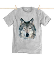 Kahuna Mens T-Shirt Wolf Design in Athletic Grey.