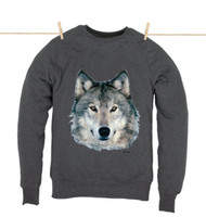 Kahuna Mens Jumper Wolf Design in Dark Heather.