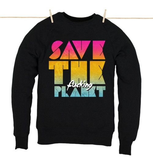 Kahuna Mens Sweat Shirt Save The Planet Design in Black.