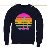 Kahuna Mens Sweat Shirt Tropical Design in Navy Blue.