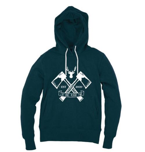 Kahuna Mens Hoodie Pullover Lumberjack Design in Denim Blue.