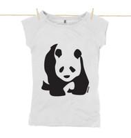 Kahuna Womens Top Bamboo Panda Design in White.
