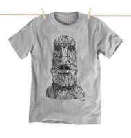 Kahuna Mens T-Shirt Easter Island Design in Athletic Grey.