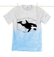 Kahuna Mens T-Shirt Killer Whale Design in Blue Fade.