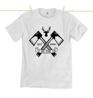 Kahuna Mens T-Shirt Lumberjack ll Design in White.
