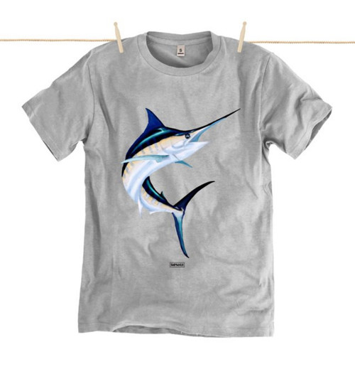 Kahuna Mens T-Shirt Marlin Design in Athletic Grey.