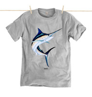 Kahuna Mens T-Shirt Marlin Design in Athletic Grey.