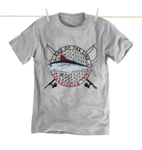 Kahuna Mens T-Shirt Overfishing Design in Athletic Grey.