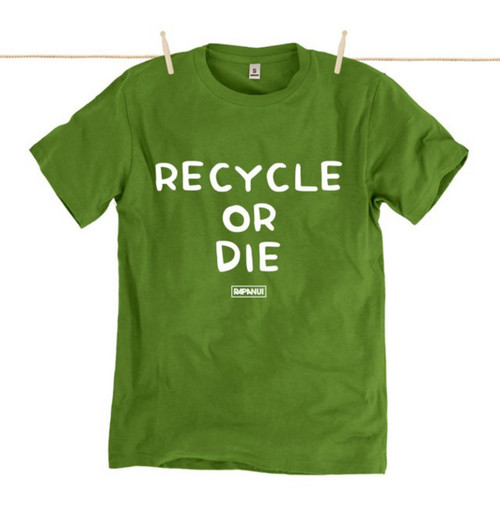 Kahuna Mens T-Shirt Recycle Or Die Design in Kahuna Green.