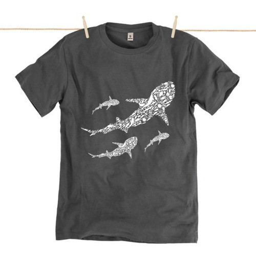 Kahuna Mens T-Shirt Save Our Seas Design in  Dark Grey.